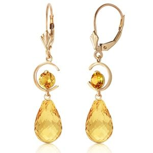 14K. GOLD LEVER BACK EARRING WITH NATURAL CITRINES